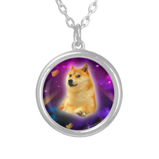 bread  - doge - shibe - space - wow doge silver plated necklace