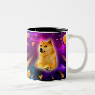 bread  - doge - shibe - space - wow doge Two-Tone coffee mug