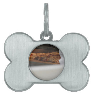 Bread freshly made into the oven pet name tag