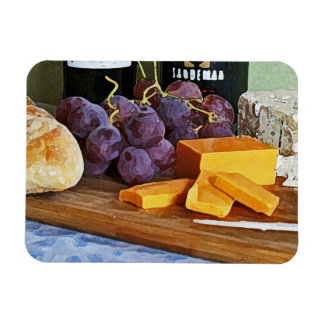 Bread Grapes Cheddar and Blue Cheeses Still Life Magnets