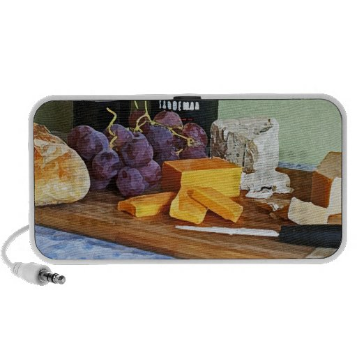 Bread Grapes Cheddar and Blue Cheeses Still Life Notebook Speakers