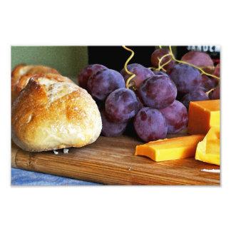 Bread Grapes Cheddar Cheese Still Life Photograph