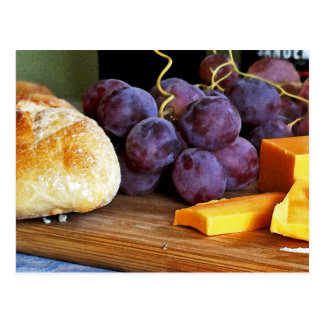 Bread Grapes Cheddar Cheese Still Life Postcard