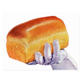 Bread Loaf Baking Art Retro Vintage Kitsch Postcard