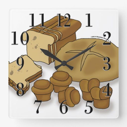 Bread Loaves and Rolls Drawing Wallclock