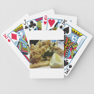 Breaded and fried crunchy vegetables with lemon bicycle playing cards