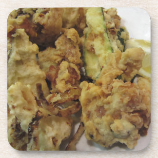 Breaded and fried crunchy vegetables with lemon coaster