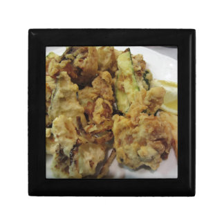 Breaded and fried crunchy vegetables with lemon gift box
