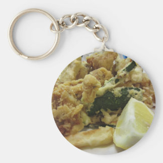 Breaded and fried crunchy vegetables with lemon key ring