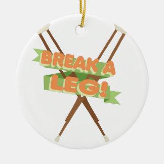 Break A Leg Crutches Ceramic Ornament