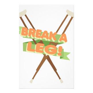 Break A Leg Crutches Custom Stationery