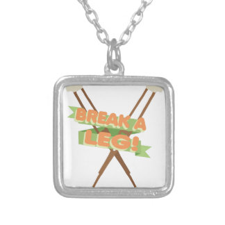 Break A Leg Crutches Silver Plated Necklace