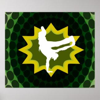 Break Dancer With Groovy Retro Background Poster