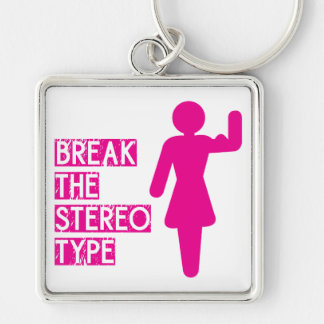 Break The Stereotype Silver-Colored Square Key Ring
