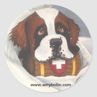 Break Time Saint Bernards, Dog, St. Bernard Classic Round Sticker