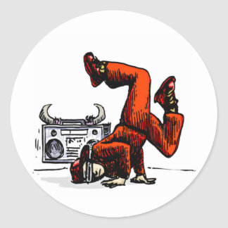 Breakdancer and Box Hip Hop Classic Round Sticker