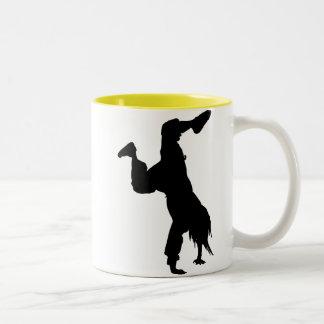 Breakdancer; yellow Two-Tone coffee mug