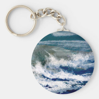 Breakers on the Rocks Seascape Ocean Waves Art Key Ring
