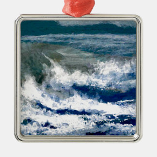 Breakers on the Rocks Seascape Ocean Waves Art Metal Ornament