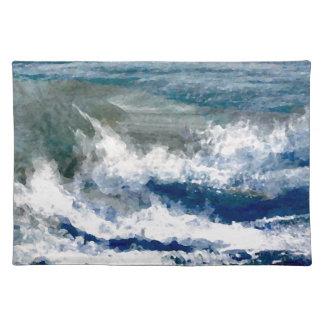 Breakers on the Rocks Seascape Ocean Waves Art Placemat
