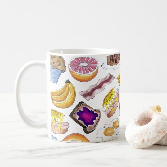 Breakfast Foods Bacon Pancake Muffin Banana Eggs Coffee Mug