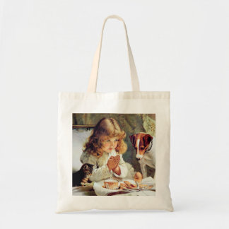 Breakfast in Bed: Girl, Terrier and Kitty Cat Budget Tote Bag