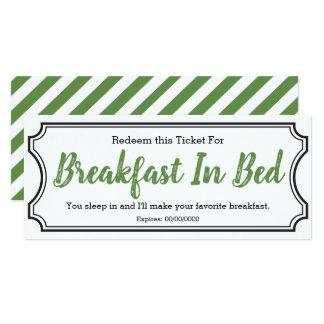 Breakfast In Bed Ticket Card