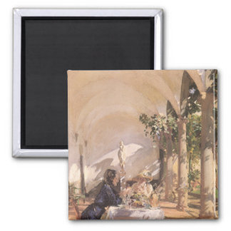 Breakfast in Loggia by Sargent, Vintage Victorian Square Magnet