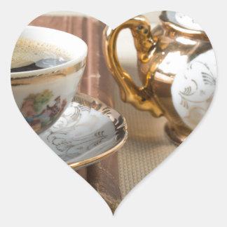 Breakfast in vintage style - espresso and savoiard heart sticker