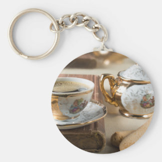 Breakfast in vintage style - espresso and savoiard key ring