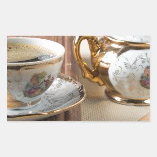 Breakfast in vintage style - espresso and savoiard rectangular sticker