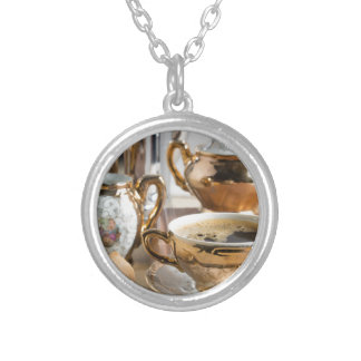 Breakfast in vintage style - espresso and Savoiard Silver Plated Necklace