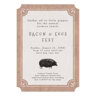 Breakfast or Brunch Picnic Party for Bacon Lovers 13 Cm X 18 Cm Invitation Card