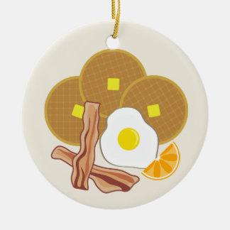 Breakfast Ornament- Waffles, Bacon and Egg Ceramic Ornament