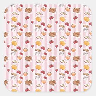 Breakfast Pattern Square Sticker