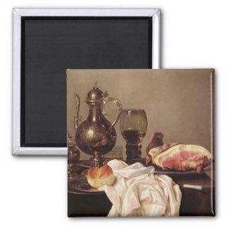 Breakfast Still Life (oil on panel) Square Magnet