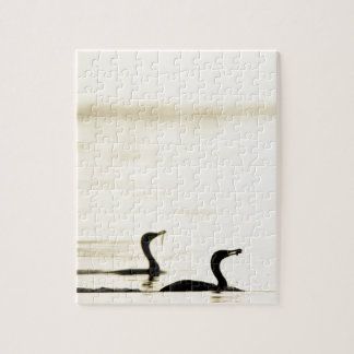 Breakfast Time for Two Cormorants Jigsaw Puzzle