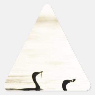 Breakfast Time for Two Cormorants Triangle Sticker