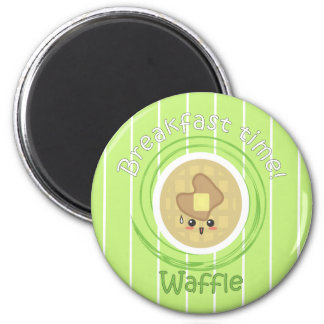 Breakfast Time - Waffle 6 Cm Round Magnet