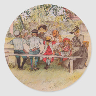 Breakfast Under the Big Birch by Carl Larsson Classic Round Sticker