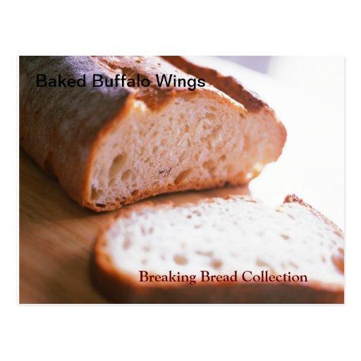 Breaking Bread Buffalo Wings Recipe Post Card