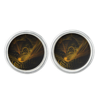 Breaking Point Abstract Art Silver Plated Cufflinks