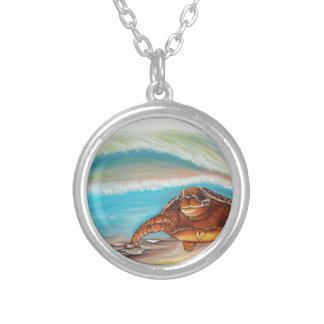 Breaking the Water's Crest Sea Turtle Silver Plated Necklace