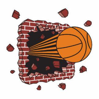 breaking through bricks basketball photo sculpture