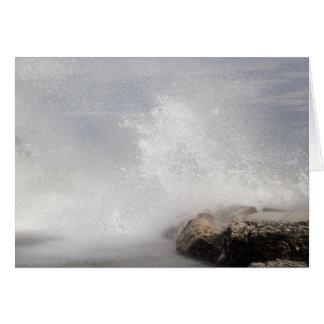 Breaking waves on rocks on the Adriatic Sea. Card