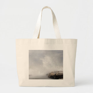 Breaking waves on rocks on the Adriatic Sea. Large Tote Bag