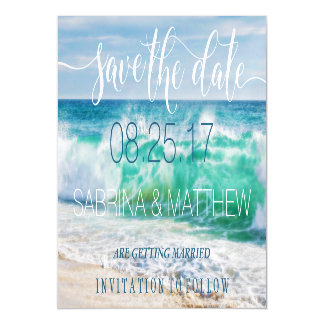 Breaking Waves Tropical Beach Save the Date Magnetic Invitations