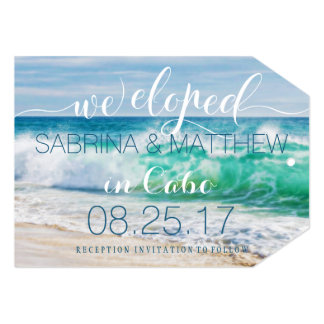 Breaking Waves Tropical We Eloped Wedding 13 Cm X 18 Cm Invitation Card
