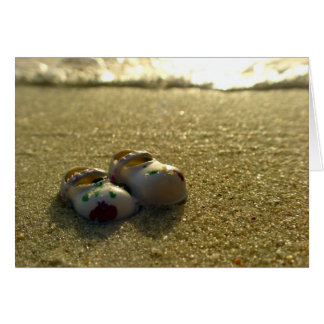 Breaktime - Doll shoes at the beach Close up Greeting Card