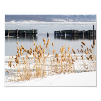 Breakwater in icy Hudson River Art Photo